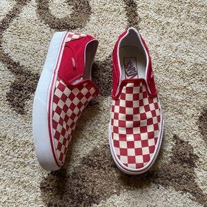 VANS Red Checkered slip ons Sneakers